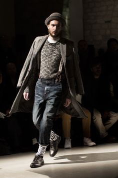 Vintage suspender and tweed look from Junya Watanabe for Fall/Winter 2013 @ Sartorialist