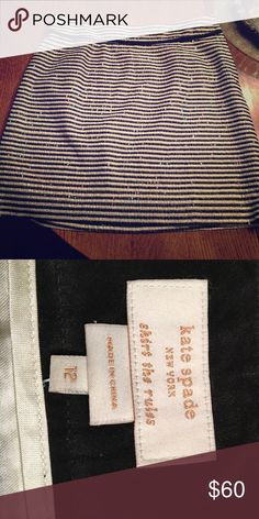 Kate spade sequin skirt Navy blue and cream striped, sequin skirt. In brand new condition from Kate spade kate spade Skirts Midi