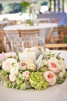 Beautiful centerpiece with peonies, roses, and hydrangea