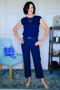 How to Navigate Trends Confidently: Faux Jumpsuit in navy blue. A fun summer outfit idea for women over 40.
