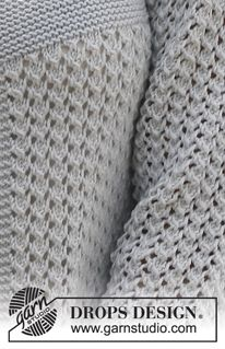 """Knitted DROPS jacket in garter st and with lace pattern, worked top down in """"Cotton Light"""". Size: S - XXXL ~ DROPS Design Baby Knitting Patterns, Ladies Cardigan Knitting Patterns, Knitted Mittens Pattern, Lace Patterns, Knitting Stitches, Free Knitting, Stitch Patterns, Drops Design, Crochet Leg Warmers"""