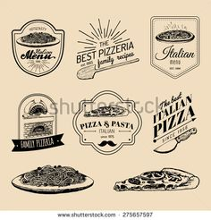 Vector set of vintage hipster italian food logo. Modern pizzeria and pasta logotypes collection