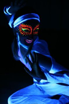 Glow Face... spice up your night life attire with a little glowing face paint... this would work perfectly for my next trip to ibiza in august!!!