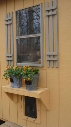 exterior of garden cabana - cute shutters disguise in cabinet dog door. Outdoor Projects, Garden Projects, Chicken Coop Decor, Chicken Coops, Potting Sheds, Outdoor Living, Outdoor Decor, Outdoor Fun, Window Boxes