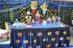 Superhero party! Candy buffet table