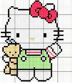 Hello Kitty - Free Cross Stitch Pattern / Hama Bead Chart