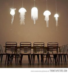 Jellyfish-inspired pendant lights