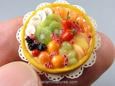 Miniature fruit tart in 12th scale for dollhouse settings - all elements made by me :)