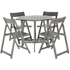 Safavieh Kerman Grey Wash Acacia Wood 5-piece Outdoor Dining Table Set | Overstock.com Shopping - Big Discounts on Safavieh Sofas, Chairs & ...