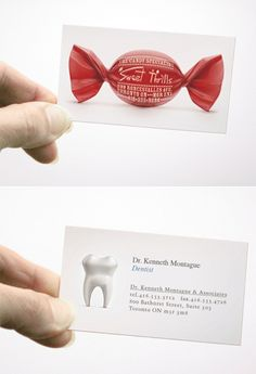Sweet Thrills is a candy store. Kenneth Montague is a dentist. Very awesome that they are sharing a business card!