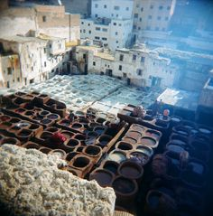 Dying vats of the tannery, Fes, Morocco