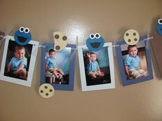 Cookie Monster Inspired Photo Banner - Holds 12 Photos - Detachable Favor Clips - Birthday / First Birthday / Party - Milk & Cookies - Cookie Monster Party - Monster 1st Birthdays, Monster Birthday Parties, Elmo Birthday, First Birthday Parties, First Birthdays, Birthday Clips, Birthday Ideas, Cookie Monster Party, Foto Banner