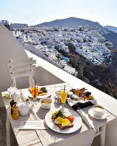 Breakfast in Santorini Greece
