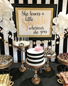 Color Party Trend for Trend 3 Kate Spade Party. Achromatic - Color Party Trend Color sets t Kate Spade Party, Kate Spade Cakes, 30th Birthday Parties, Birthday Celebration, Cake Birthday, Elegant Birthday Party, 70th Birthday Party Ideas For Mom, 35th Birthday, 60th Birthday Party Decorations