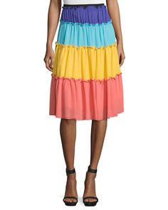 Tiered Colorblock A-Line Skirt, Multi Colors - Moschino
