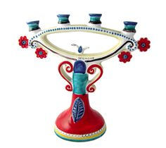 Ceramiche De Simone - Candelabras & Candle Holders - Sicilian Ceramic (Pottery) - CAN335 - Candelabro h35 cm