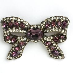 Eisenberg Vintage Jewelry - Amethyst & Diamanté Bow Brooch