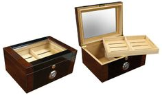 The Berkeley II desktop humidor is a stunning two toned dark mahogany and black lacquer finish. Lined with Spanish cedar, internal locking hinges, a removable tray and 2 adjustable dividers to separate your up to 100 cigar collection. Best Cigar Humidor, Top Cigars, Cuba, Dark Mahogany, Beveled Glass, The Prestige, Diy Paper