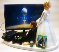 Video Gamer Xbox One/PS4 Funny Gamer Wedding Cake Topper Bride and Groom Dest by Pieceofcaketoppers4u on Etsy https://www.etsy.com/listing/218257757/video-gamer-xbox-oneps4-funny-gamer