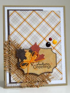 Fall Cards, Holiday Cards, Handmade Thanksgiving Cards, Handmade Greetings, Greeting Cards Handmade, Burlap Card, Pumpkin Cards, Leaf Cards, Making Greeting Cards