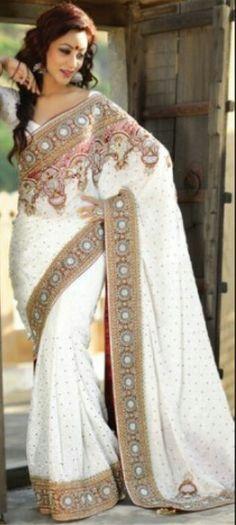 Weisser sari