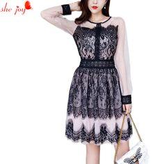 2018 Retro Lace Dess Party Women's Clothings Patchork Vintage Dresses Female Knee Length Robe Femme Vestidos //Price: $60.00 & FREE Shipping //     #rolex