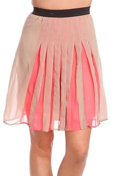Coral Beige Elastic Waistband Pleated Sheer Overlay Chic Skirt