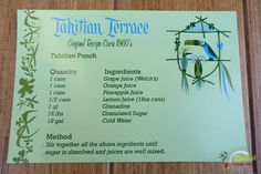 Tahitian Terrace Punch Original Recipe - This was my kids absolute favorite punch - they wanted to eat there each time we visited Disneyland. Unfortunately now it costs $150.00 per person