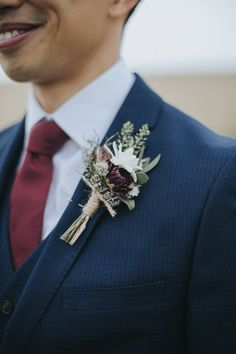 Buttonhole | Groom in Slaters Suit | Country Wedding at Farmers Barns, Rosedew Farm, Cardiff | Grace Elizabeth Photography and Film