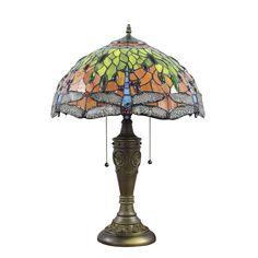 Lampe - Chambre à Coucher - 16 inch Lampe de table style rétro européen Abat-jouren verre à motif de libellule luminaire pour salon chambre salle à manger