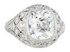 4.02ct G/Si1 Cushion Cut Art Deco Diamond Ringhttp://ch.shrevecrumpandlow.com/product_detail.php?product_id=2666613&Metal=Platinum&Stone=Old%20European%20Cut&Style=Art%20Deco&Type=Ring