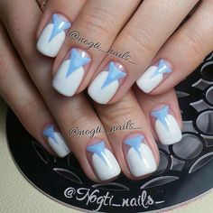 Beautiful nails 2017, Blue and white nails, Everyday nails, Half-moon nails ideas, Manicure by summer dress, Original nails, Stylish nails, Summer nail art