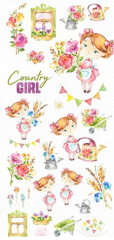 This Country Girl watercolor set is just what you needed for the perfect invitations, craft projects, paper products, party decorations, printable, greetings cards, posters, stationery, scrapbooking, stickers, t-shirts, baby clothes, web designs and much more. :::::: DETAILS ::::::