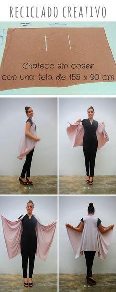 Chaleco sin coser con una tela o un foulard