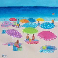 Beach Decor with umbrellas and people beach by JanMatsonArt, $125.00