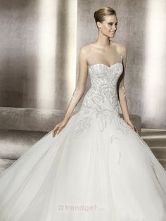 Attractive Ball Gown Sweetheart Floor-length Organza White #Wedding Dresses