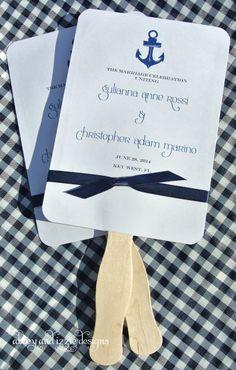 Nautical Wedding | Wedding Fans | Wedding Hand Fans | Beach Wedding | by abbey andi zzie designs