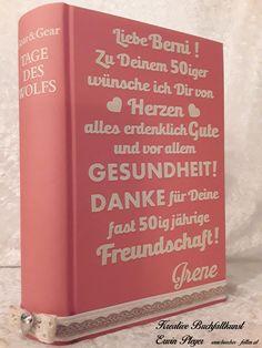 Buchcover mit Wunschtext in persönlicher und individueller Gestaltung Books, Handarbeit, Creative, Livros, Livres, Book, Libri, Libros