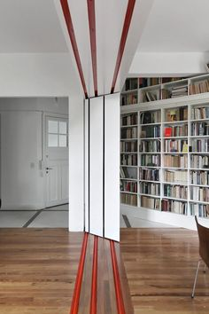 Sliding library - folds away neatly. What other innovations would you put in an innovative hotel?