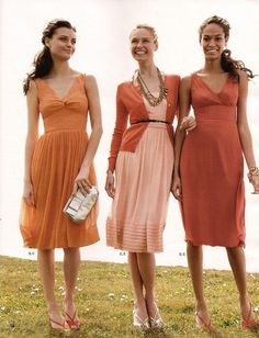 bridesmaids in different dresses, same color scheme