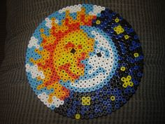 Perler bead sun and moon by faunafrailty, via Flickr