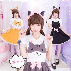 Japanese kawaii cats vest straps skirt