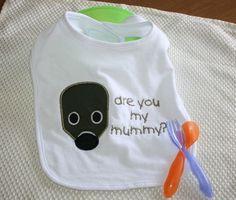 Doctor Who Mummy Mask Applique Bib, Dr Who Baby Bib, Are You My Mummy Bib, The Empty Child on Etsy, $12.50
