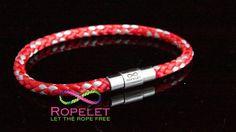 Red and silver Ropelet, handmade rope bracelet from www.ropelet.co.uk. #climbingbracelet #ropelet #ropebracelet #wristband