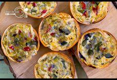 Tartaletas de verduras. Quiches individuales con obleas de empanadillas.