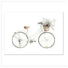 """Kunstdruck / Poster """"Bicycle-Love"""" · Aquarell auf hochwertigem Kunstdruckpapier · In verschiedenen Größen bestellen bei Leo la Douce"""