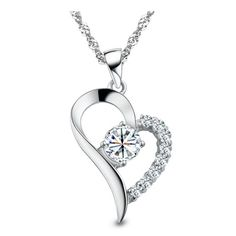 Beautiful Sterling silver 925 sterling Sterling Silver Rhodium-plated satin and Polished Two Piece Heart Pendant