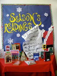 """Idea: instead of """"Season's Greeting,"""" create a reading bulletin board display that features your students' favorite books that they read during December and title your display """"Season's Readings. School Library Displays, Middle School Libraries, Library Themes, Library Activities, Elementary Library, Library Ideas, Library Decorations, Library Inspiration, Classroom Resources"""