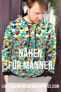 #Pullover #hoodie #nähen #naaien #sew #diy #männermode Men's Wardrobe, Pullover Hoodie, Athletic, Sewing, Knitting, Lady, Jackets, Fashion, Woman Clothing