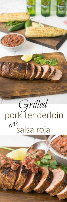 Grilled pork tenderloin with salsa roja is the perfect summer grilling dish. I'm taking the pork south of the border by rubbing it with Mexican spices and serving it with grilled salsa roja. Grilling Recipes, Pork Recipes, Grilling Ideas, Cooking Recipes, Bbq Ideas, Cookbook Recipes, Great Recipes, Whole Food Recipes, Favorite Recipes